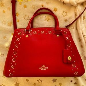 Red Coach Bag Lillie Carryall with Gold Studs